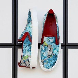 NIB Gucci Supreme GG Canvas Bloom Slip On Sneakers